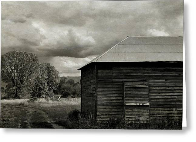 The Old Farm Bw Greeting Card
