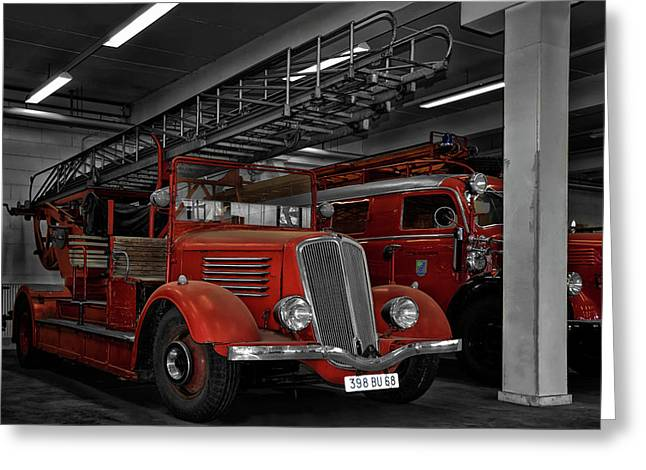 The Old Fire Trucks Greeting Card by Joachim G Pinkawa