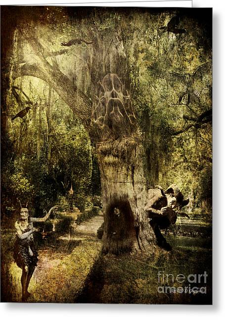 Greeting Card featuring the digital art The Old Goat Tree by Rhonda Strickland