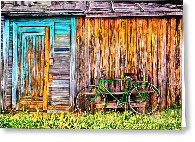 The Old Green Bicycle Greeting Card by Edward Fielding