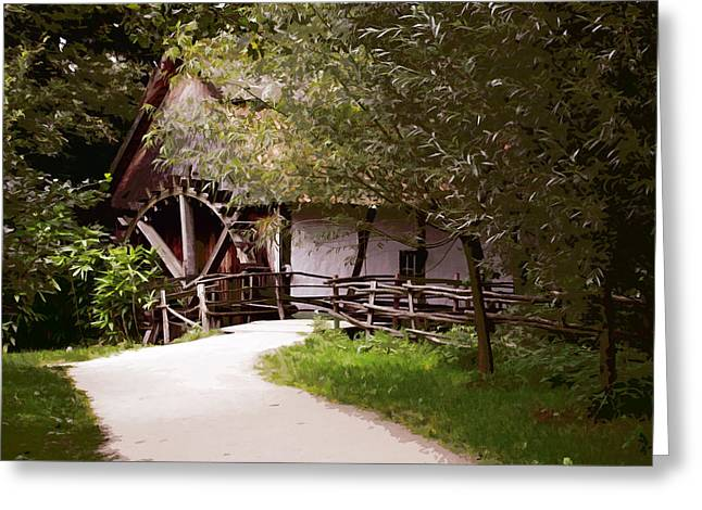 The Old Grist Mill Greeting Card by Elaine Plesser