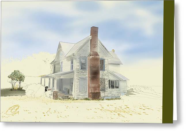 Greeting Card featuring the painting The Home Place - Silent Eyes by Joel Deutsch