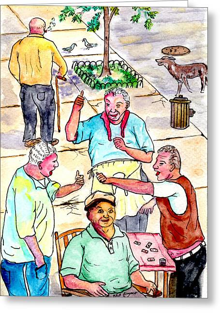 The Old Italian Men Up The Block Greeting Card