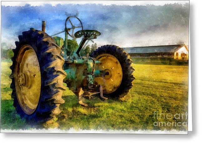 The Old John Deere Tractor Greeting Card by Edward Fielding