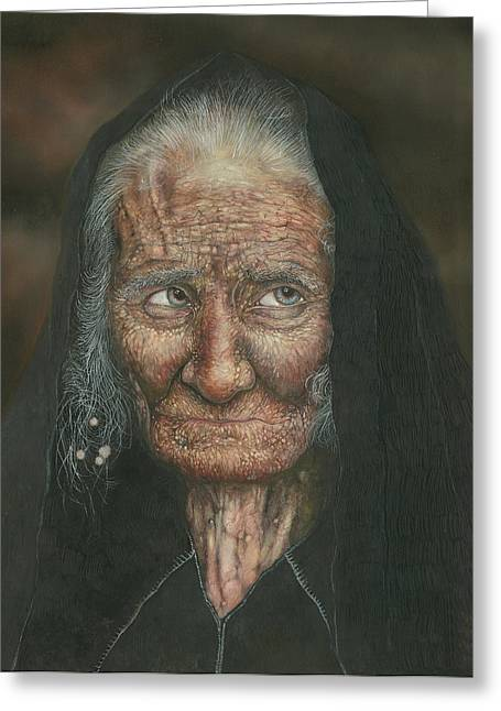The Old Lady Greeting Card by Connor Maguire
