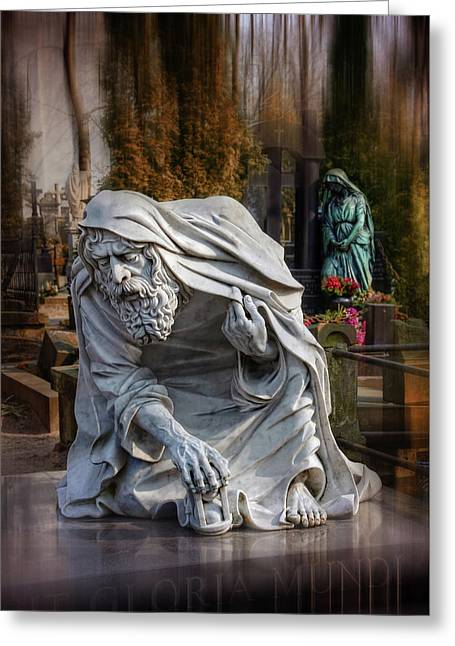 Greeting Card featuring the photograph The Old Man Of Powazki Cemetery Warsaw  by Carol Japp