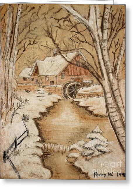 The Old Mill By George Perry Wood 1941 Greeting Card by Karen Adams