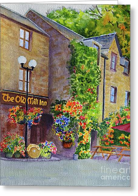 Greeting Card featuring the painting The Old Mill Inn by Karen Fleschler