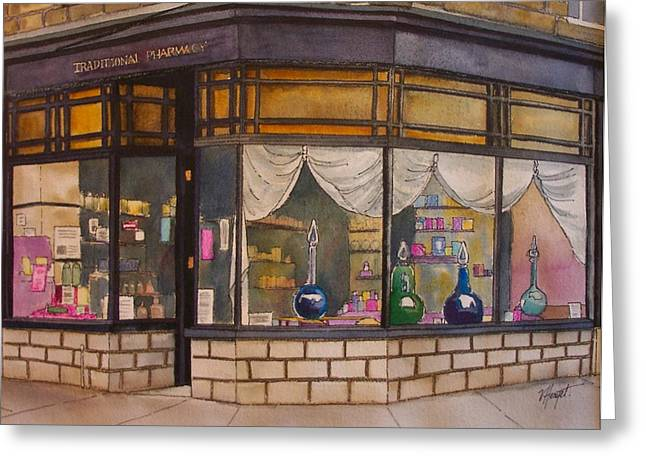 The Old Pharmacy Greeting Card by Victoria Heryet