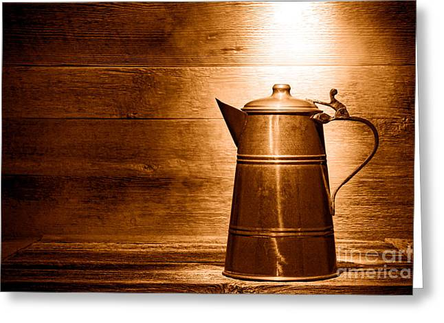The Old Pitcher - Sepia Greeting Card by Olivier Le Queinec