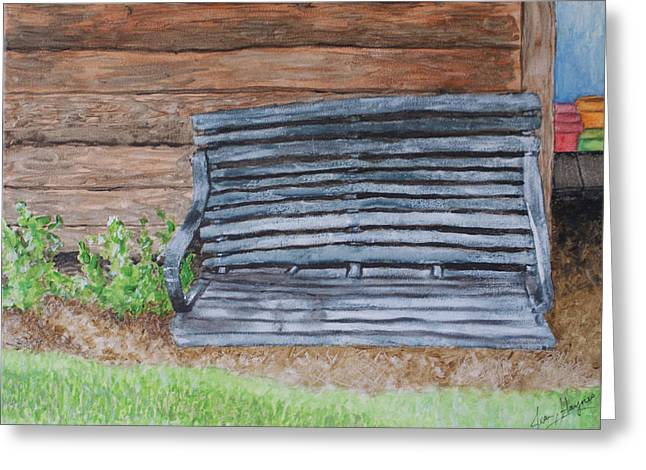 Greeting Card featuring the painting The Old Porch Swing by Jean Haynes