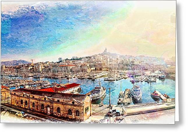 The Old Port Of Marseille 1 Greeting Card by Jean Francois Gil