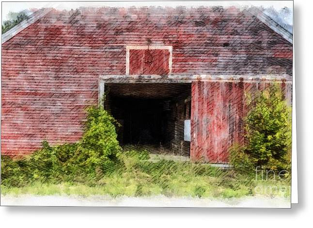 The Old Red Barn At Nutt Farm Etna Nh Greeting Card by Edward Fielding