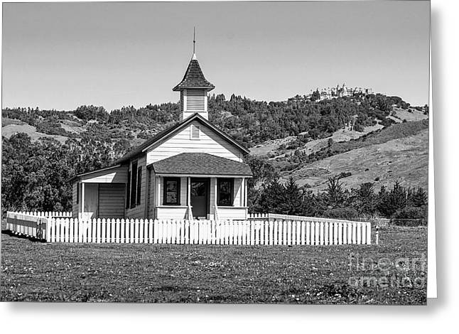 The Old San Simeon Schoolhouse With The Famous Hearst Castle Greeting Card by Jamie Pham