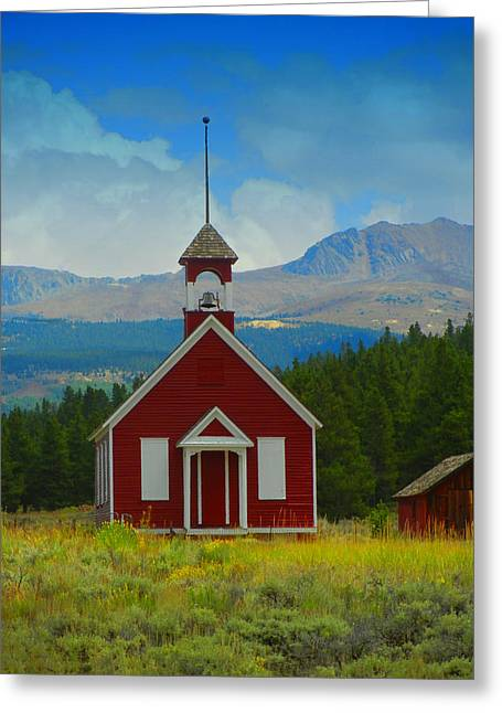 The Old Schoolhouse Greeting Card by Bobbie Barth