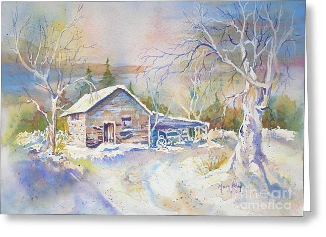 Greeting Card featuring the painting The Old Shed by Mary Haley-Rocks