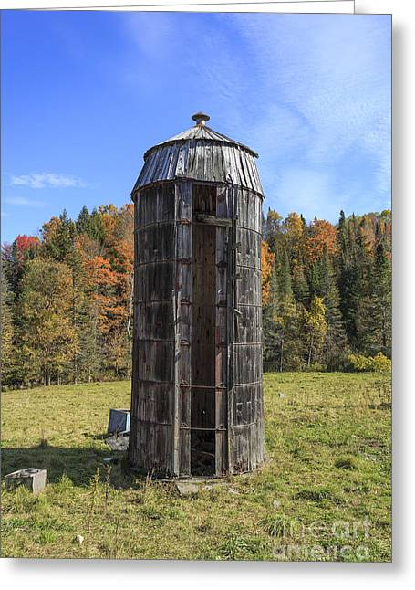 The Old Silo Vermont Greeting Card by Edward Fielding