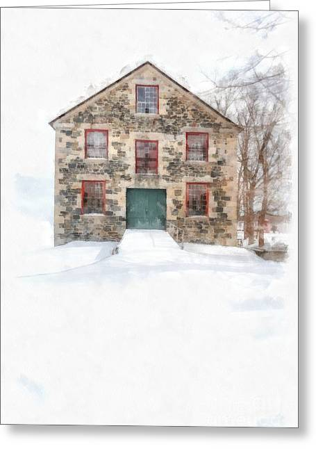 The Old Stone Barn Enfield New Hampshire Greeting Card by Edward Fielding