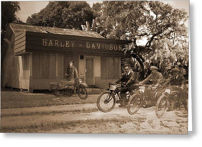 Motorcycles Pyrography Greeting Cards - The Old Stuart Harley Shop Greeting Card by Richard Nickson