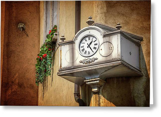 The Old Swiss Clock Geneva  Greeting Card