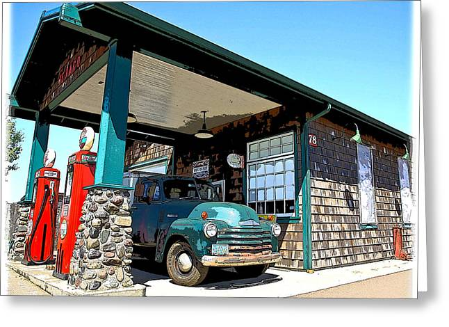 1949 Plymouth Greeting Cards - The Old Texaco Station Greeting Card by Steve McKinzie