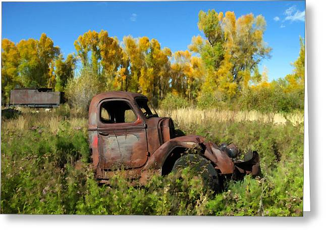 Old Trucks Digital Greeting Cards - The old truck  Chama New Mexico Greeting Card by Kurt Van Wagner