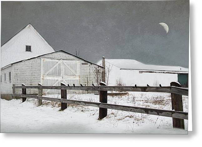 Greeting Card featuring the photograph The Old White Barn by Robin-lee Vieira