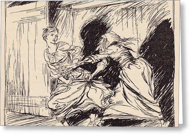 The Old Woman Seized Her By The Gown Greeting Card by Vintage Design Pics