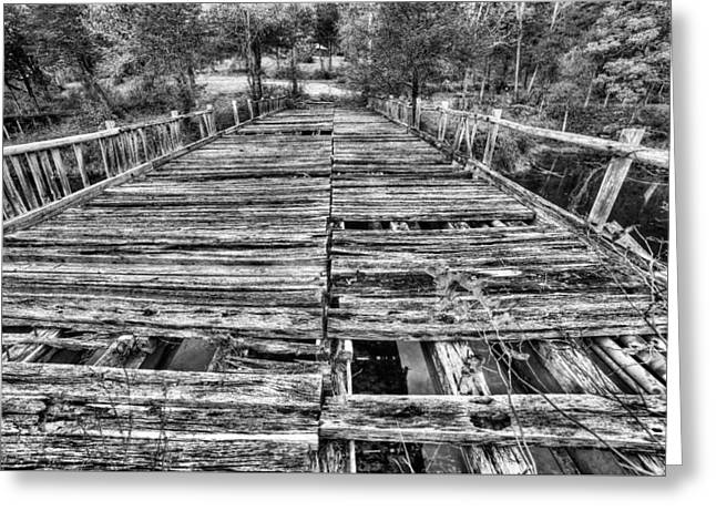 The Old Wooden Bridge In Black And White Greeting Card by JC Findley