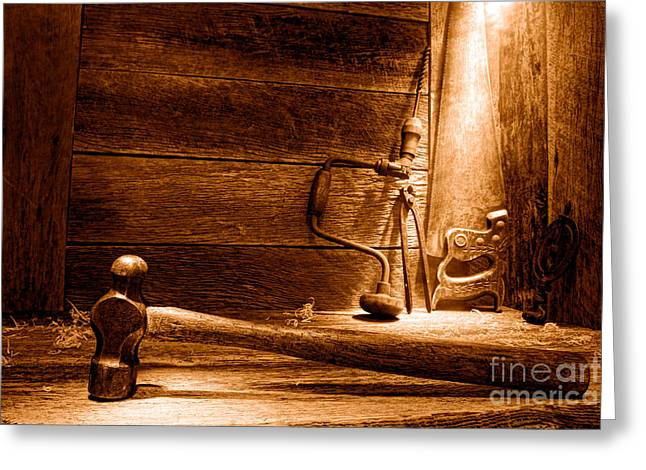 The Old Workshop - Sepia Greeting Card by Olivier Le Queinec