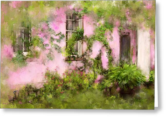 The Olde Pink House In Savannah Georgia Greeting Card by Carla Parris