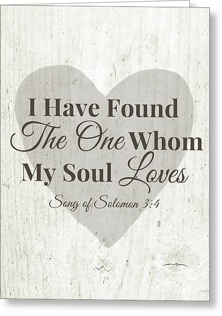 The One Whom My Sould Loves- Art By Linda Woods Greeting Card