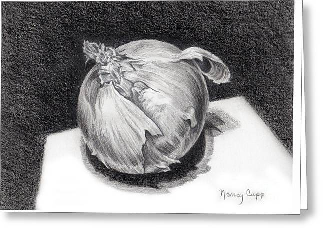 Greeting Card featuring the drawing The Onion by Nancy Cupp