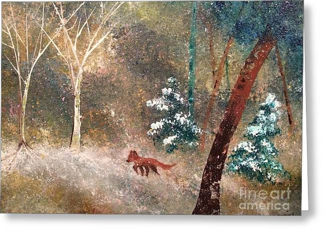 Greeting Card featuring the painting The Onion Snow by Denise Tomasura