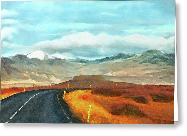 Greeting Card featuring the digital art The Open Road On The Snaefellsnes Peninsula by Digital Photographic Arts