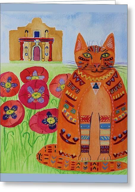 the Orange Alamo Cat Greeting Card