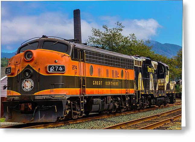 The Orange Great Northern Railway Greeting Card by Garry Gay
