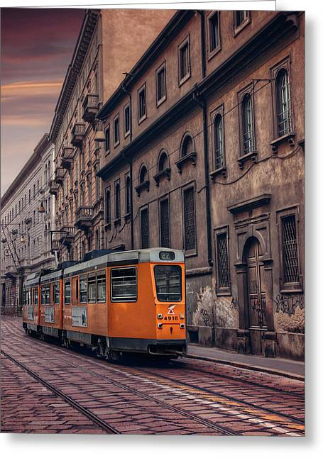 The Orange Tram Greeting Card