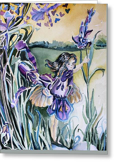 Greeting Card featuring the painting The Orchid Fairy by Mindy Newman