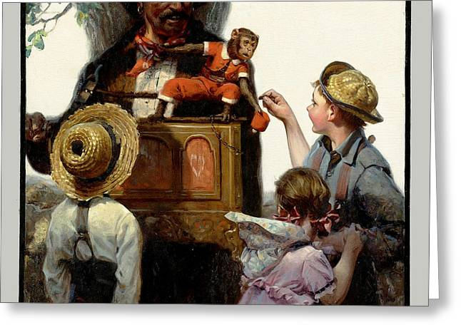 The Organ Grinder Greeting Card by Norman Rockwell
