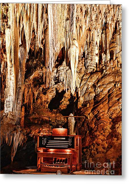 The Organ In The Cavern Greeting Card by Paul Ward