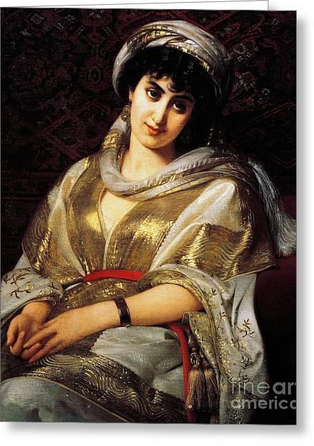 The Oriental Woman Greeting Card by Michele Rapisardi