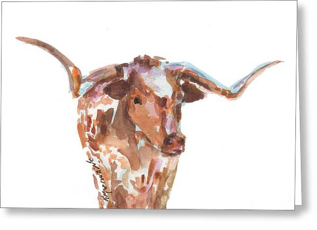 The Original Longhorn Standing Earth Quack Watercolor Painting By Kmcelwaine Greeting Card by Kathleen McElwaine