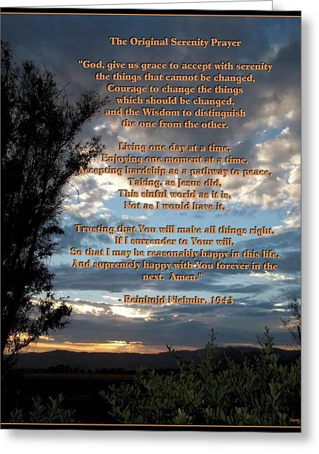 The Original Serenity Prayer Greeting Card by Glenn McCarthy Art and Photography