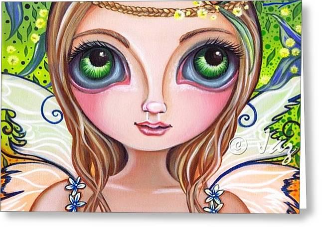 The Original wattle Fairy Painting Greeting Card by Jaz Higgins