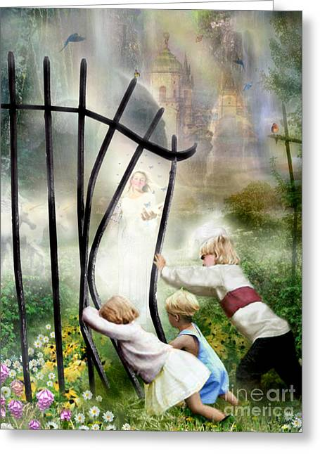 Carrie Jackson Studios Greeting Cards - The Other Side Of The Fence Greeting Card by Carrie Jackson