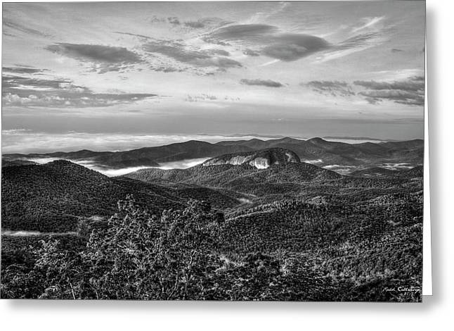 The Outcrop Looking Glass Rock Sunrise Bw Blue Ridge Parkway Art Greeting Card
