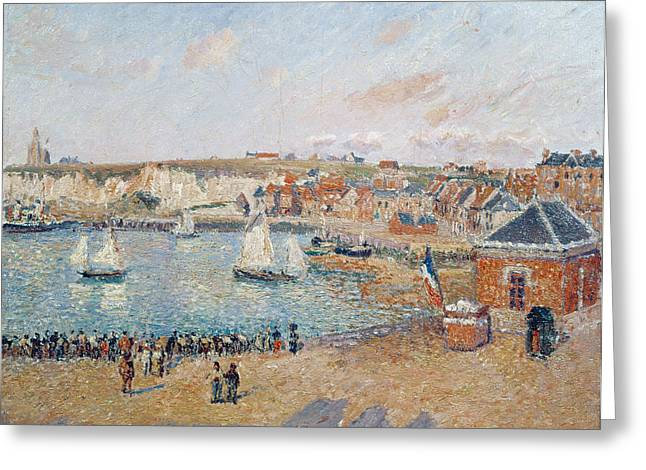 The Outer Harbour At Dieppe Greeting Card by Camille Pissarro
