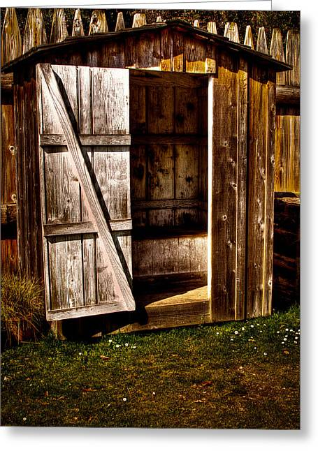 The Outhouse At Fort Nisqually Greeting Card by David Patterson