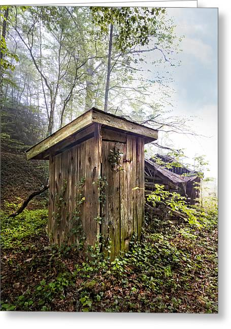 Tennessee Barn Greeting Cards - The Outhouse Greeting Card by Debra and Dave Vanderlaan